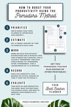 boost your productivity with the Pomodoro method Routine Planner, Goals Planner, Planner Ideas, Weekly Planner, Pomodoro Method, Productivity Hacks, Increase Productivity, Time Management Tips, Time Management Printable