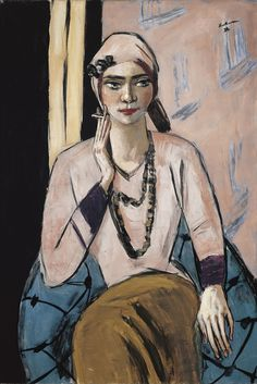 Painting by Max Beckmann, 1932/34, Quappi in a Pink Jumper, Oil on canvas, Museo Thyssen-Bornemisza, Madrid.
