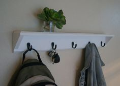Wall Shelf Hooks White Coat Rack with Shelf by MidnightWoodworks