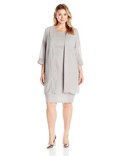 Le Bos Women's Plus Size Beaded Trim Empire Dress and Duster Two Piece Set ** Awesome product. Click the image : Trendy plus size clothing Trendy Plus Size Clothing, Plus Size Dresses, Plus Size Outfits, Plus Size Fashion, Dresses For Work, Mother Of The Bride Gown, Bride Gowns, Beaded Trim