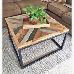 West Elm-Inspired Coffee Table DIY Coffee Table Ideas For The Budget-Conscious Decorator Coffee Table Design, Unique Coffee Table, Rustic Coffee Tables, Diy Coffee Table, Decorating Coffee Tables, Diy Table, Dining Table, Homemade Coffee Tables, Creative Coffee