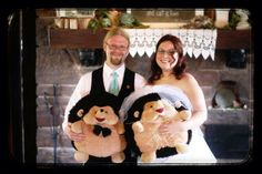 """From Caitlin and David A's amazing wedding. """"We had a slight hedgehog theme with our two wonderful hedgie Squishables Big Herbie and Big Henrietta helping guard our presents!"""" Congrats guys!!!!! #squishable #plush #wedding"""