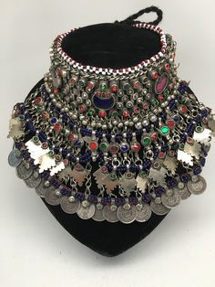 Vintage Big Afghan Kuchi Jingle Bells Chain Boho Bib ATS Choker Necklace,V125