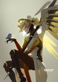 ''she's so pretty'' by shilin.deviantart.com on @DeviantArt - More at https://pinterest.com/supergirlsart #mercy #overwatch #fanart