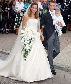 Big day: Tessy's marriage to Prince Louis in 2006 in Gilsdorf, Luxembourg as controversial because she was a commoner who had already given birth to their eldest son out of wedlock