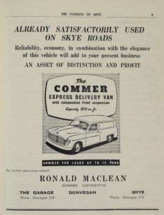 Advert for Commer vans from the 'Clarion of Skye', April