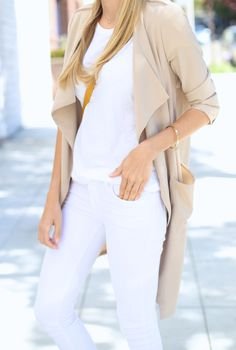 White on white + soft draped trench coat I Adorned With Love