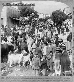 Villagers and countrymen on market day in Sparta (c1907)