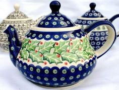 Holly teapot for Christmas - I believe this is by the Polish pottery makers. The designs are hand stamped with sponges.