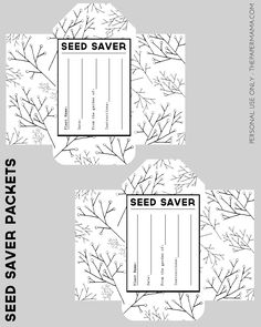 Seed Saver Packet Printables Free - The Paper Mama Veg Garden, Garden Seeds, Vegetable Gardening, Veggie Gardens, Seed Packet Template, Organic Gardening, Gardening Tips, Seed Packaging, Seed Bank