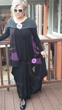 ba8b915be200 Lagenlook Asymmetrical 2 pieces suit balloon skirt and tunic in black and  purple