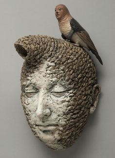 Adrian Arleo in 2012 Ceramic Figures, Clay Figures, Contemporary Sculpture, Contemporary Art, Ceramic Pottery, Ceramic Art, Eyes Closed, Bird People, Sculpture Clay