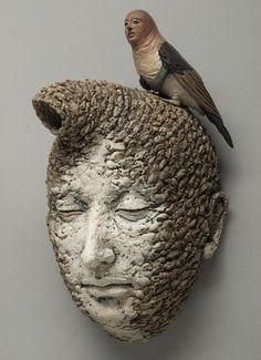 Adrian Arleo in 2012 Ceramic Figures, Clay Figures, Ceramic Pottery, Ceramic Art, Eyes Closed, Bird People, Contemporary Sculpture, Contemporary Art, Sculpture Clay