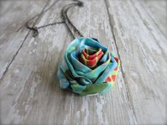 PERFECT GIFT HandMade Summer Fabric Flower Necklace on by amblebee