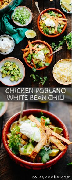 Low Unwanted Fat Cooking For Weightloss Chicken Poblano White Bean Chili Is An Easy, Healthy And Delicious Chili Recipe That's Awesome For Both Weeknight Dinners And Entertaining Friends And Family. Chili Recipes, Turkey Recipes, Soup Recipes, Dinner Recipes, Cooking Recipes, Dinner Ideas, Hamburger Recipes, Barbecue Recipes, Fall Recipes