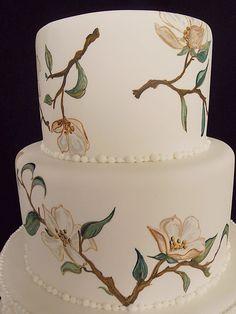 Hand Painted Magnolia Cake Close up