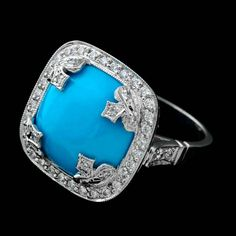 Persian Turquoise, platinum, and diamonds from Cathy Carmendy and Pearlman's Jewelers