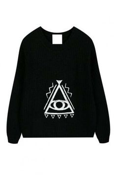 Triangle eye pattern embroidery sweater_Sweaters_CLOTHING_Voguec Shop