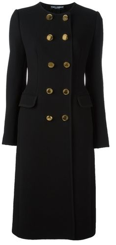 Dolce and Gabbana double breasted Collarless Long Coat