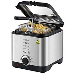 Aicok Fryer Mini Deep Fryer Electric Fryer Machine Temperature Control 1.5 Liter Lid with Viewing Window, Stainless Steel Basket - amazon