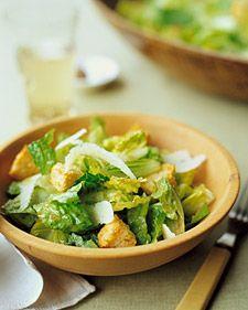Ceasar Salad: garlic cloves, coarse salt, rustic bread, freshly squeezed lemon juice, Worcestershire sauce, Dijon mustard, freshly ground pepper, exta-virgin olive oil, romaine lettuce, and Parmesan cheese.