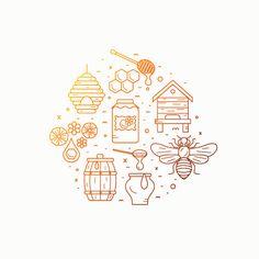 Honey product icon set. on Behance