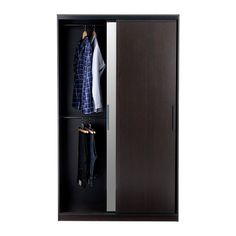 MORVIK Wardrobe IKEA Sliding doors allow more room for furniture because they don't take any space to open.Idea for Harper's room - Inside view