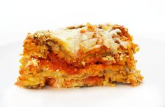 Eggplant Parmesan Lasagna - layers or breaded eggplant, pasta sauce, creamy ricotta and mozzarella cheese.  This is Italian comfort food taken up a level. Eggplant Parmesan meets Lasagna.  Insanely delicious.