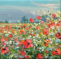 'Evening poppies, Ednaston' by Mark Preston. Part of his two man exhibition with Rex Preston, opening at gallerytop on 3 October 2015