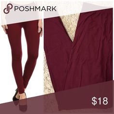 PLUS SIZE ❤️ Burgundy Butter Soft Brushed Leggings PLUS SIZE ❤️ Burgundy Butter Soft Brushed Leggings Seriously, made of the exact fabric as your Fav LuLaRoe leggings...only they aren't LLR & they don't cost as much😜 PLUS One Size, will easily fit plus sizing (up to 3X) Fit like LLR Tall & Curvy leggings....no joke These are dark burgundy Opaque (NOT see through), high waist, ankle length  92% polyester, 8% spandex  Price firm unless bundled  😋✌️❌NO TRADES❌ Hourglass Lady Pants Leggings