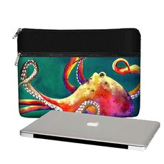 New! 13 inch Laptop Sleeve / Macbook Pro 13 Case / 13 Macbook Air Bag / Macbook Pro Retina  - Clara Nilles Funky Octopus teal red (RTS)