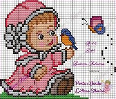 Arts and embroidery sun: Baby reasons Graphics Small Cross Stitch, Cute Cross Stitch, Cross Stitch Designs, Cross Stitch Patterns, Brother Innovis, Crochet Baby Bibs, Craft Museum, Pixel Crochet, Happy Baby