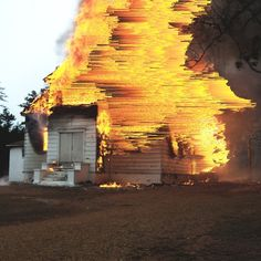 """""""Church fire"""" – This has been one of my first experiments in which I combined pixel sorting with photoshop. It started as a test, but then it looked good so I carried on working on it."""