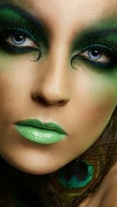 Creative Face ♥ Green Lady with blue eyes ♥