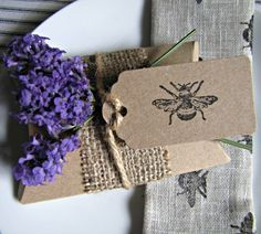 Rustic Style Hessian & Bee Print Tag Wedding Favour by paperbeagle, £1.50