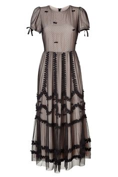 Valentino Red Black Bow Embellished Maxi Dress in Black | Lyst