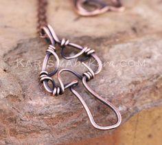 Mushroom Necklace, Oxidized Copper, Wire Jewelry