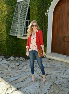 Red Polka Dot Beige Light Pink Camel Brown Jeans Outfit