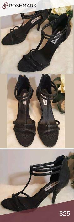 Steve Madden Black Heels Crocodile Print Steve Madden Womans Black Heels Crocodile Print Leather Strappy Shoes Size 7 Steve Madden Shoes Heels