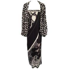 Preowned 1960s Leonard Paris Silk Knit Spaghetti Strap Column Gown... ($675) ❤ liked on Polyvore featuring black, cocoon shrug, cardigan shrug, silk shrug, leopard print shrug and shrug cardigan