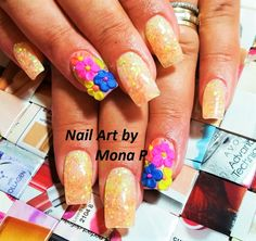 Neon glitter and 3D flower nail art