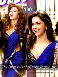 Deepika Padukone Chiffon Lace Work Royal Blue Plain Bollywood Designer Saree - 1130