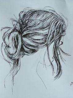 cheveux . dessin à l'encre plume à dessin