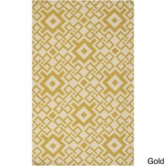 "Hand-hooked Geometric Polypropylene Rug (3'3 x 5'3) (Gold-(3'3"" x 5'3"")), Gold, Size 3' x 5'"