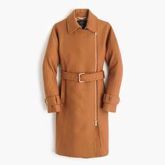 Belted zip trench coat in wool melton