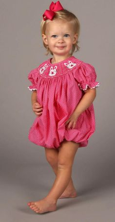 Pink Polka Dot Smocked Easter Bunny Bubble from Smocked Auctions