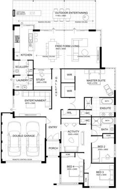 This is a good plan! I think it will tick all the boxes for many families looking at building a new home. The kids bedrooms The post Floor Plan Friday: High ceilings with perfect indoor/outdoor living appeared first on Children's Room. The Plan, How To Plan, New House Plans, Dream House Plans, House Floor Plans, Family House Plans, Home Design Floor Plans, Plan Design, Master Room