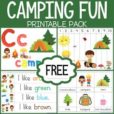 Free Camping Theme Printables and more! Theme based printables for Tot School, Preschool, and Kindergarten. Kindergarten Themes, Homeschool Kindergarten, Preschool Themes, Preschool Printables, Preschool Classroom, Classroom Camping Theme, Classroom Themes, Summer School Themes, Camping Activities For Kids
