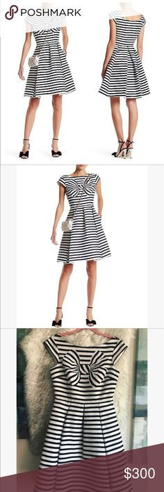Kate Spade striped dress   Gorgeous Kate Spade striped bow dress in size 2 color is navy and white, new with tag  kate spade Dresses Midi