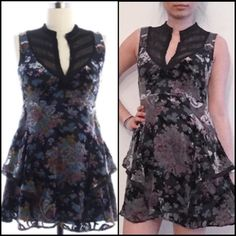 """Free People multicolor floral tunic dress ➖SIZE: 6 (see measurements)  ➖BRAND: Free People  ➖CONDITION: like new  ➖STYLE: sleeveless tunic : dress with both lace, Ruffles and other material in a floral and flirty way. *this is the actual dress*  ➖MEASUREMENTS       ➖LENGTH: 33""""      ➖WAIST: 14"""" (size 28)       ➖HIP: 19"""" (38"""" all around)       ➖BUST: 16.5"""" Free People Dresses"""